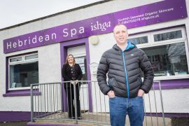 Malcolm Macrae, of Hebridean Spa, with Lindsay MacLeod, relationship manager at Bank of Scotland.