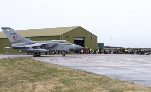 Families of the flight crews were waiting on the apron at RAF Lossiemouth to greet them when they arrived.