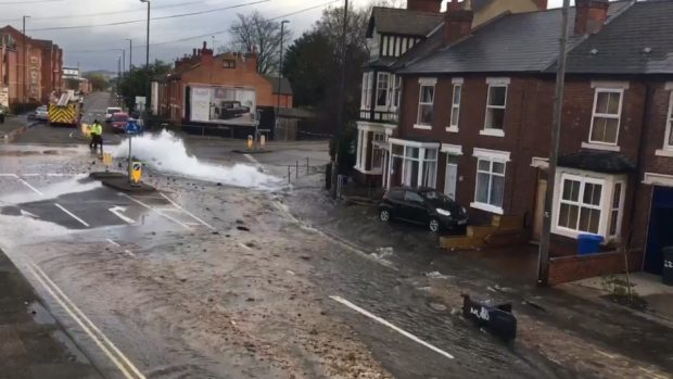 A water main burst with such force it smashed windows in nearby houses (Twitter feed of @rosie_burt29)