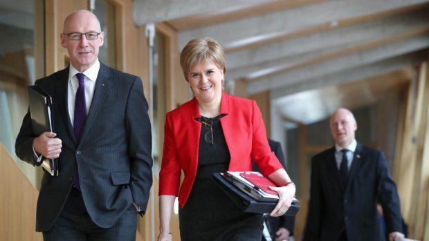 John Swinney and Nicola Sturgeon at Holyrood