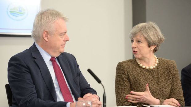 Prime Minister Theresa May and First Minister Carwyn Jones during a bilateral meeting at the Liberty Stadium in Swansea