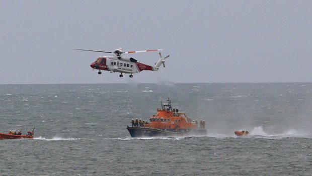 The coastguard helicopter based at Prestwick is involved in the search