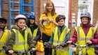 Joanna Rowsell Shand, centre, with pupils from Cale Green Primary School in Stockport. Picture by Livia Lazar, Sustrans.