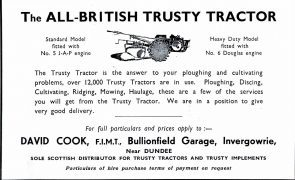 An advert for David Cook of Invergowrie - Scotland's only Trusty agent