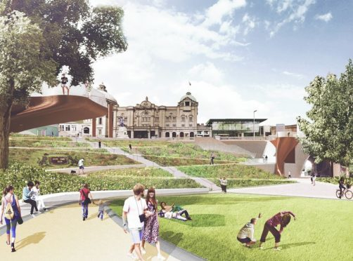 A visual of the redesigned Union Terrace Gardens.