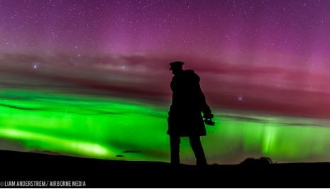 The Aurora borealis at David Stirling Memorial by Airborne Lens