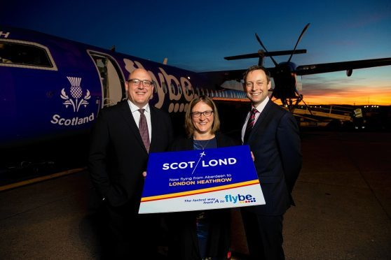 L-R Flybe chief revenue officer Vincent Hodder, AIA managing director Carol Benzie and Scottish Conservative North-east MSP Liam Kerr