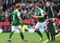 Hibernian's Grant Holt comes on a substitute for Fraser Fyvie (left)