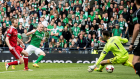 Hibernian's Dylan McGeouch eqaulises