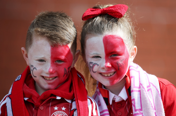 Aberdeen fans Bailey White aged 5 (left) and Summer White aged 7 arriving for the Scottish Cup, Semi Final match at Hampden Park   Andrew Milligan/PA Wire