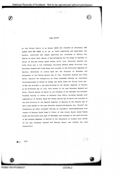 Disposition in favour of William David Young and Hazel Young recorded 11 April 1991