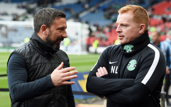 Aberdeen's Derek McInnes and Hibernian manager Neil Lennon