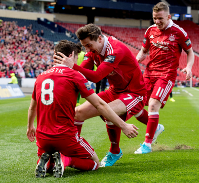 Aberdeen's Ryan Christie celebrates his goal with Kenny McLean and Jonny Hayes