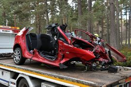 The aftermath of the fatal crash on the A93