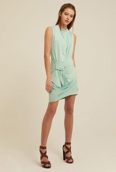 AQAQ Gratiae Draped Jersey Mini Dress, £80 (shoes stylist's own; www.aqaq.com)