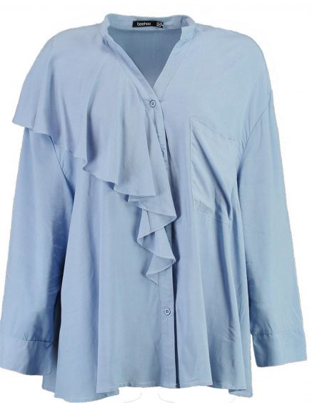 Boohoo Sandy Oversized Blue Ruffle Shirt, £18 (www.boohoo.com)