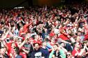 Aberdeen fans celebrate the late winner