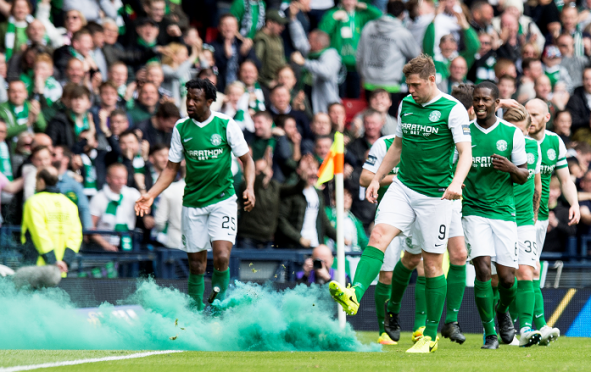 Hibernian players after the late winner