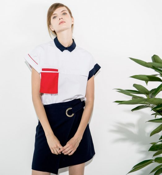Cubic Poplin Blouse, £55.99; Club Skirt (available April 17), £79 (OwntheLook.com