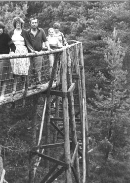 A family taking on the treetop trail at Landmark in  1981