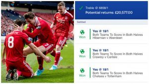 Dons goal helps teenager win cool £20,000 with incredible accumulator bet