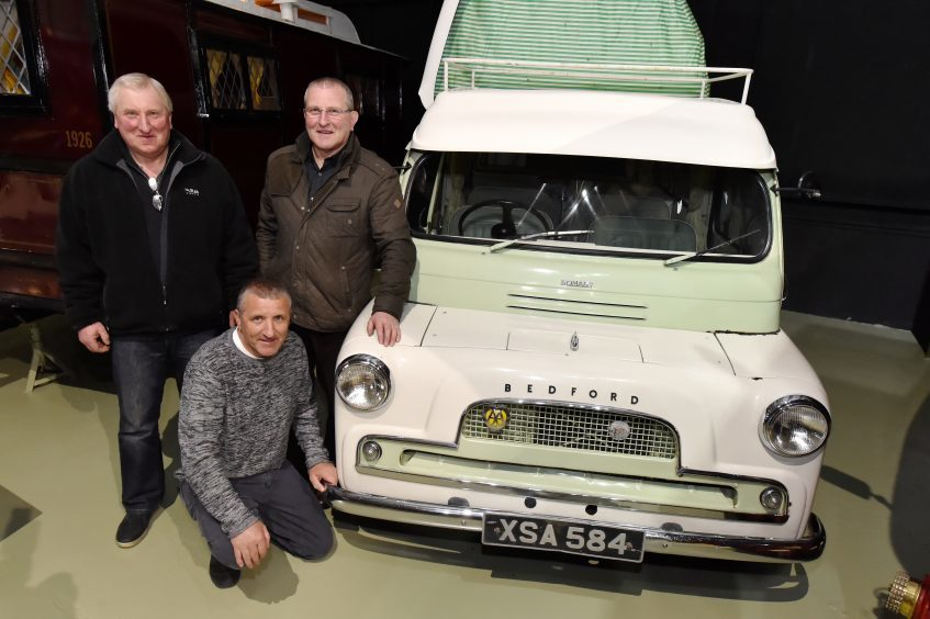 The Bedford CA Romany Dormobile that was won in a competition organised by the Press and Journal Newspaper during 1963. Sons of winner James Stuart (L-R) James, Richard and Ian Stuart.