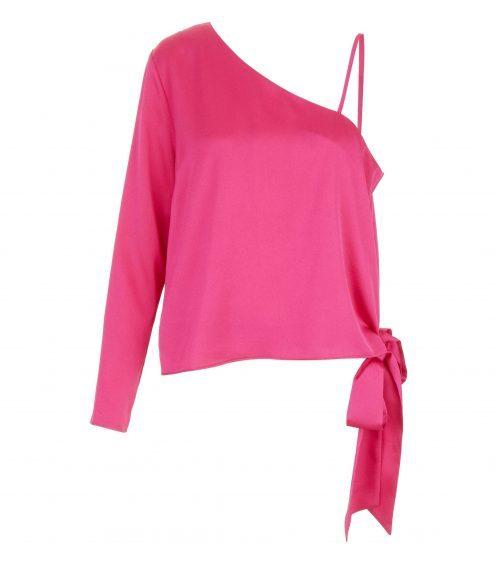 New Look Pink Sateen One Shoulder Tie Side Top, £19.99 (www.newlook.com)