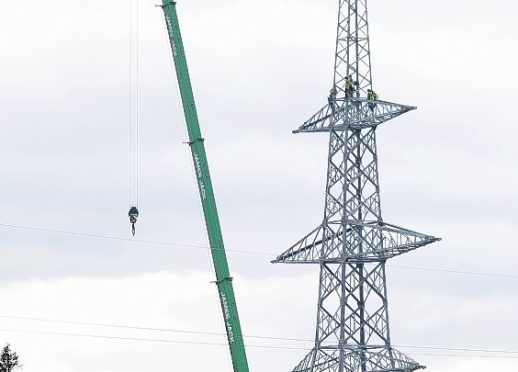The first of 600 new pylons on the Beauly-Denny line was completed in 2012.