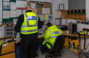 Police officer at the Coastguard station in Burghead