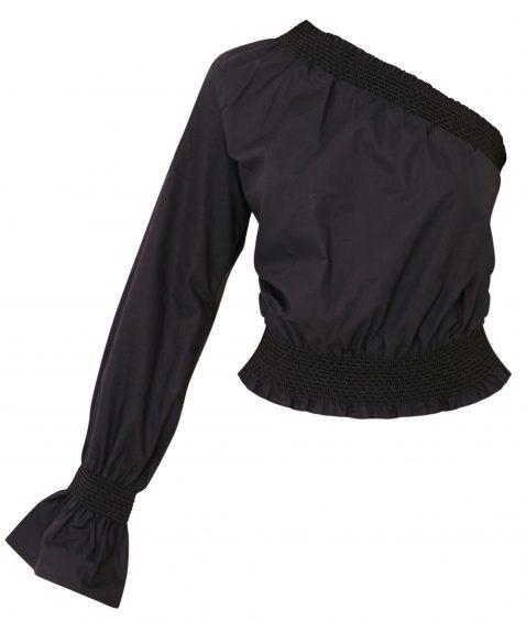Sosandar Black One Shoulder Button Sleeve Jumper, £59 (www.sosandar.com)