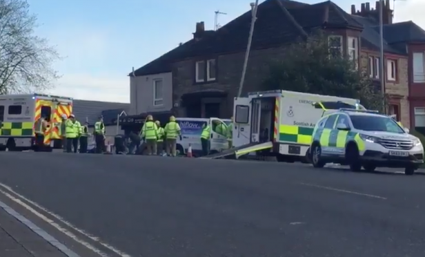 Four people injured after bus stop crash in Clydebank