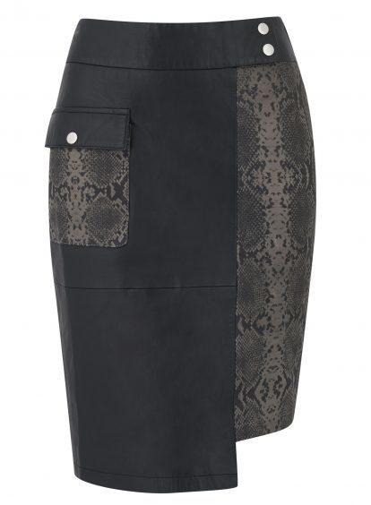 Sosandar Leather Snake Print Panel Skirt, currently reduced to £74.50 from £149 (www.sosandar.com)
