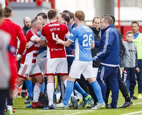 Tempers flare as the teams go into the dressing room at half time