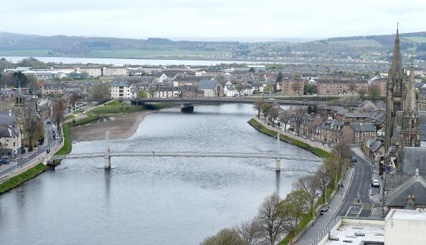 The River Ness with the Greig Street footbridge and the Friars Bridge. Picture by Sandy McCook