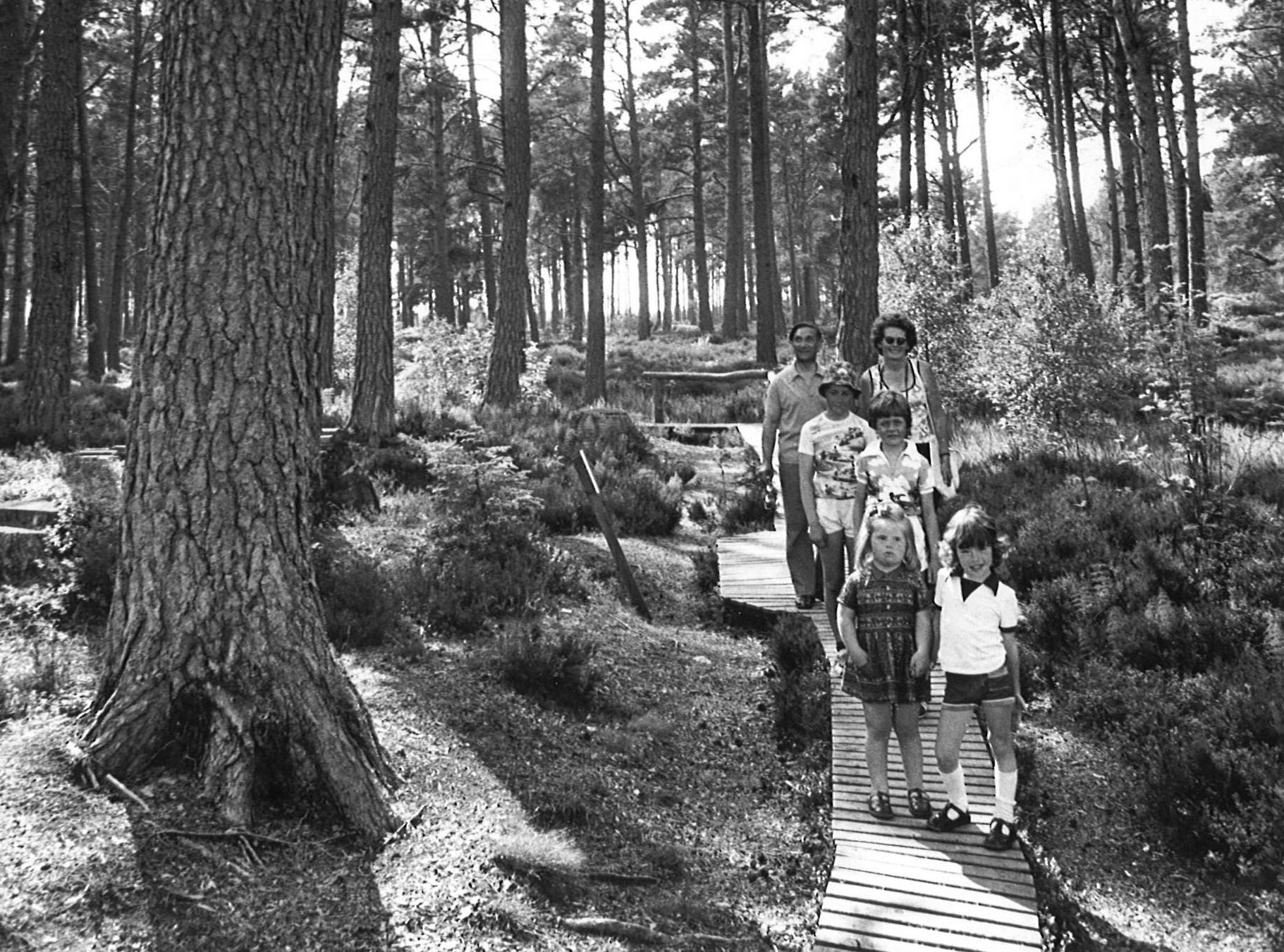 A family enjoythe nature trail at Landmark, 1977
