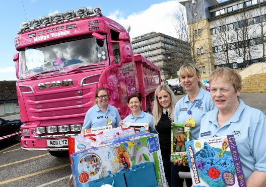 Pictured are from left, Wendy Joss, Heather Beattie, Gemma Jamieson-Cameron, Susan Clark and Helen MacCuish at Royal Aberdeen Childrens Hospital