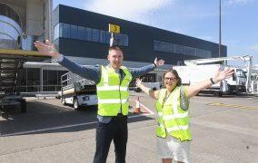 John Deffenbaugh, Project Leader, Aberdeen International Airport and Carol Benzie, managing director of Aberdeen International Airport.