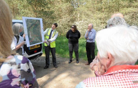 The Planning Committee of the Cairngorms National Park held a site visit yesterday at the site of the proposed An Camas Mor development in Rothiemurchus,