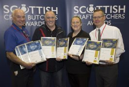 Scottish Craft Butchers Scottish Meat Trade Fair 2017....14.05.17 Craft Butcher Awards presentations, Alastair Bruce of Bruce of the Broch inm Fraserburgh receives his awards from Tom Lawn (left) of Scobies Direct, Judith Johnston of Lucas and Archie Hall from Dalziel Picture by Graeme Hart.