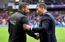Aberdeen manager Derek McInnes (left) with Rangers manager Pedro Caixinha