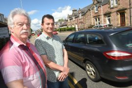 On the left Kenneth MacKay of the Melrose Villa on Kenneth Street and on the right Araseh Alashi of the Quaich guesthouse on Greig Street. Pic and video by Sandy McCook.