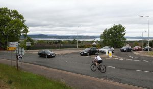 The junction of Tower Road and the B9006 in Inverness