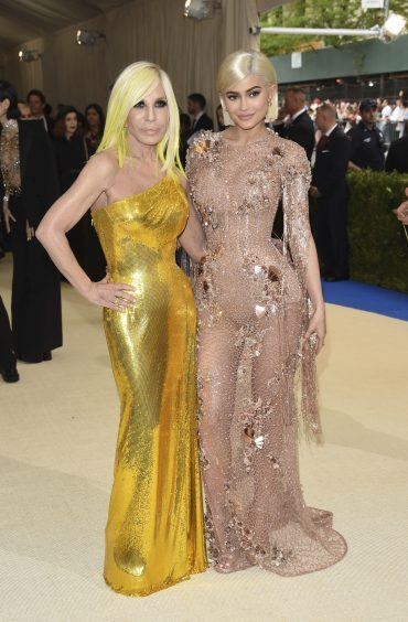 Kylie Jenner, right, and Donatella Versace