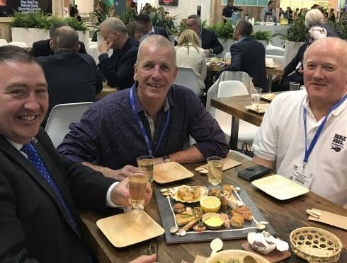 Jimmy at lunch with  association members Alan Downie and Malcom Smith