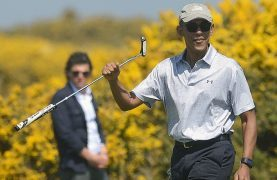 Former US President Barack Obama plays the Old Course at St Andrews