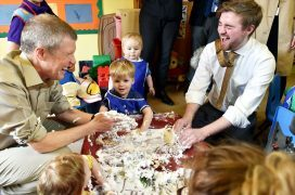 Scottish Liberal Democrat leader Willie Rennie MSP and Gordon candidate David Evans visited the Banbury Cross Nursery at Blackdog near Bridge of Don