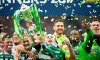 Celtic's Scott Brown lifts the Scottish Cup