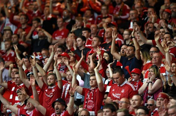Aberdeen supporters at Hampden Park during last year's Scottish Cup final.