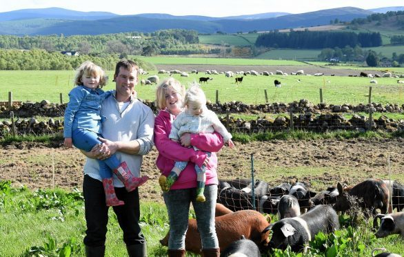 Ahren and Louise Urquhart with daughters Rose, left, and Isla.