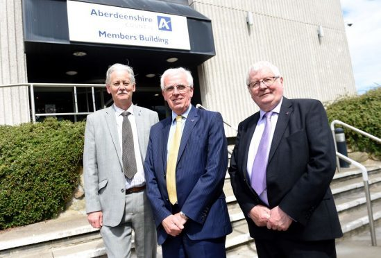 The new Aberdeenshire Council administration -  Peter Argyle, Jim Gifford and Norman Smith